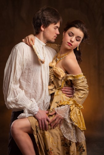 bodice-ripper-susan-storer-clark-history-muse Man and woman in (and somewhat out of) period dress, in a passionate clinch.
