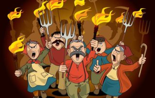 cartoon of peasants with torches and pitchforks