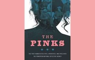 book-cover-of-The-Pinks-woman's-head-silhouette-filled-with-generals