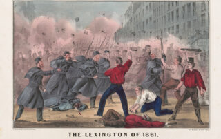 Old image of Pratt Street riot. Words about this are in the Maryland state song.